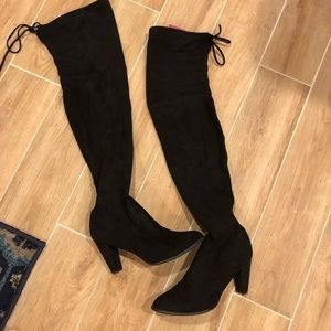 Faux suede black Thigh high heeled boots